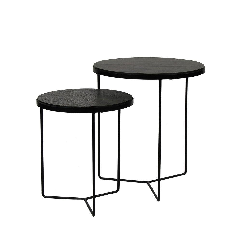 Pomax Miso - 2 tables gigognes en bois et métal - Couleur - Bois / Métal