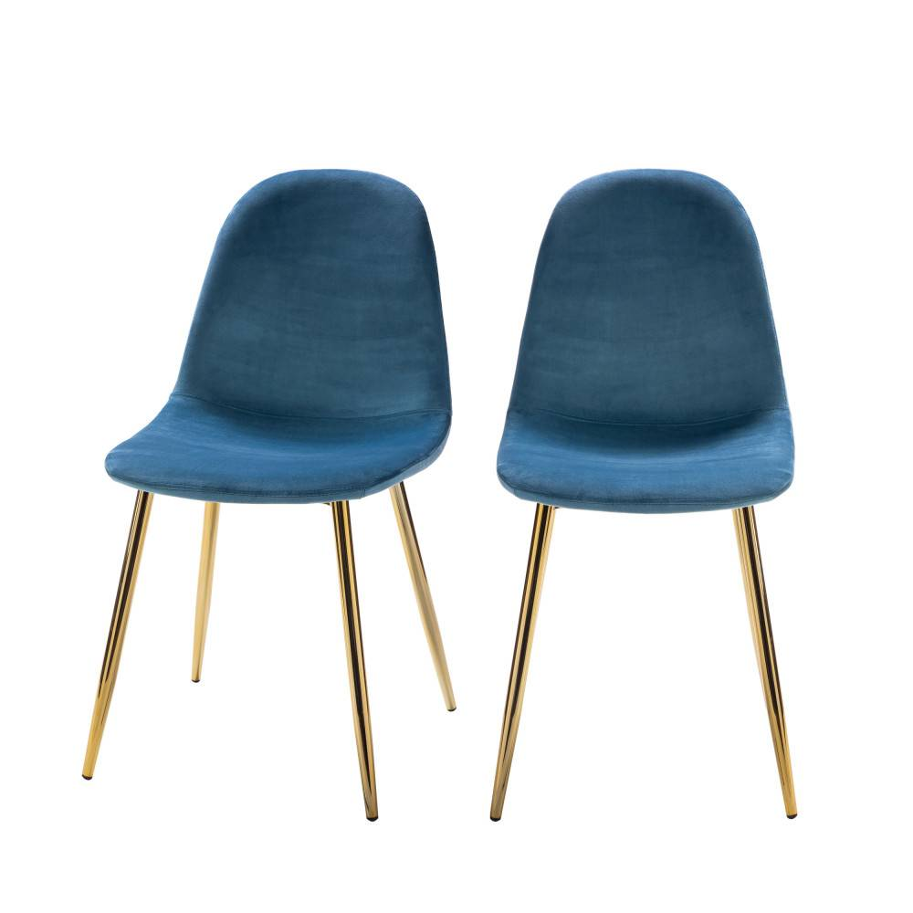 Drawer Vitikko - 2 chaises en velours et pieds dorés