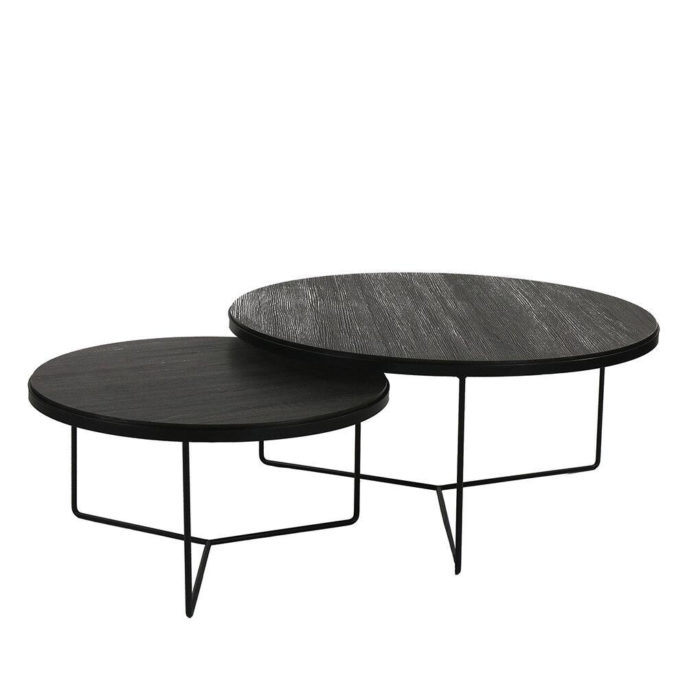 Pomax Miso - 2 tables basses en métal - Couleur - Noir