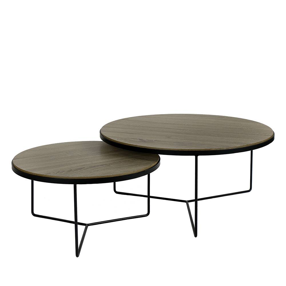 Pomax Miso - 2 tables basses en métal - Couleur - Naturel