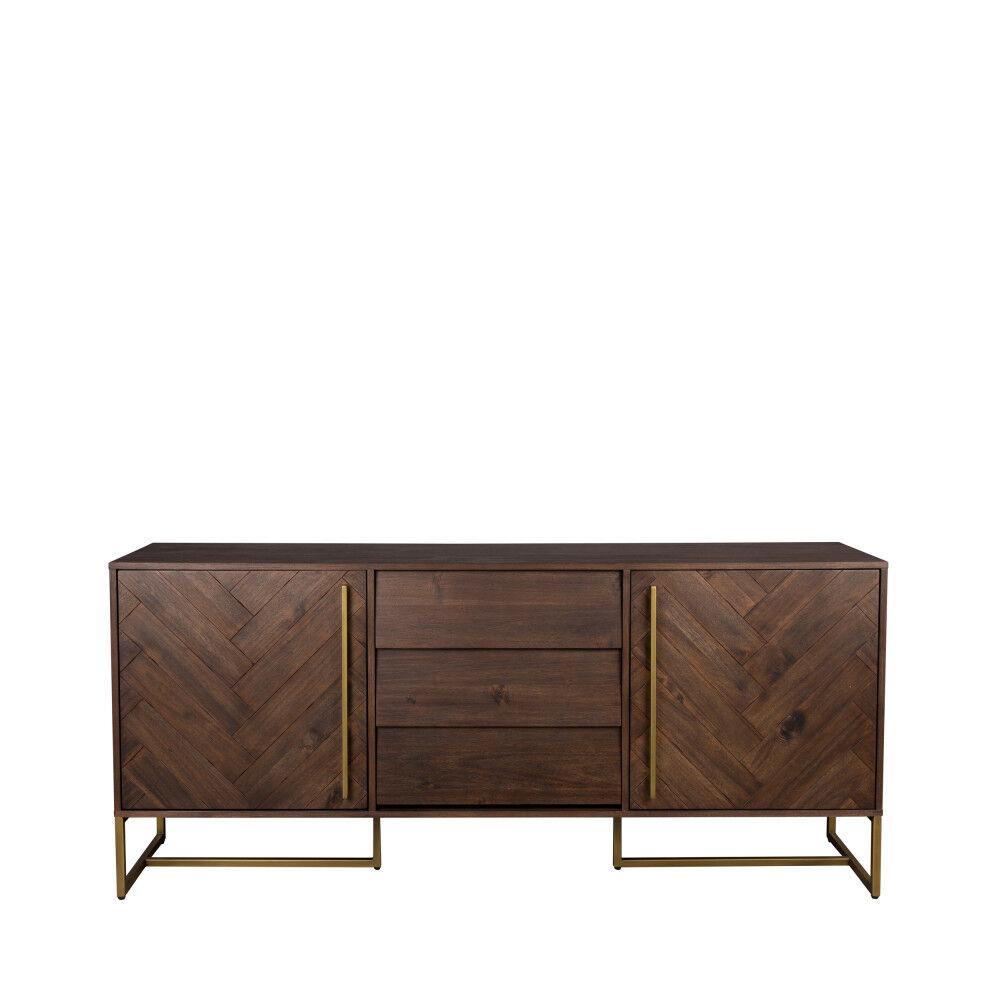 Dutchbone Class - Buffet design en bois et laiton H80cm