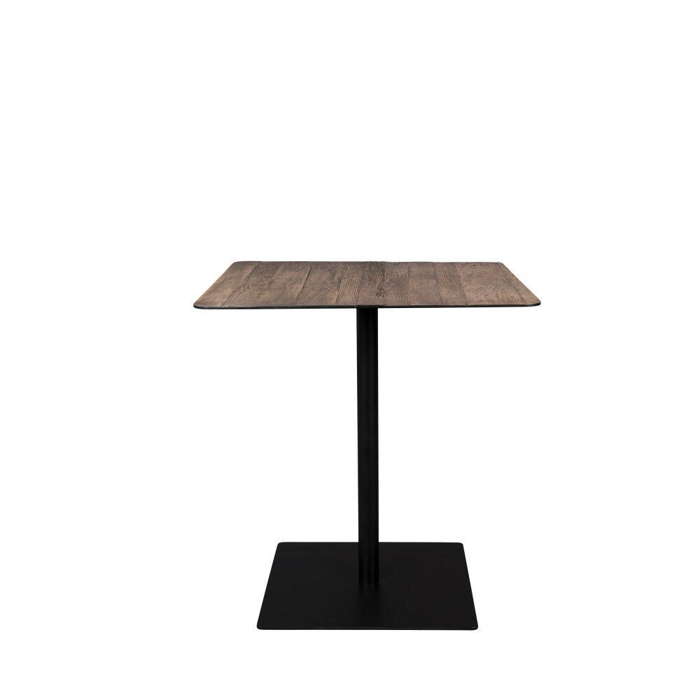 Dutchbone Braza - Table de bistrot carrée en métal et bois 70x70cm