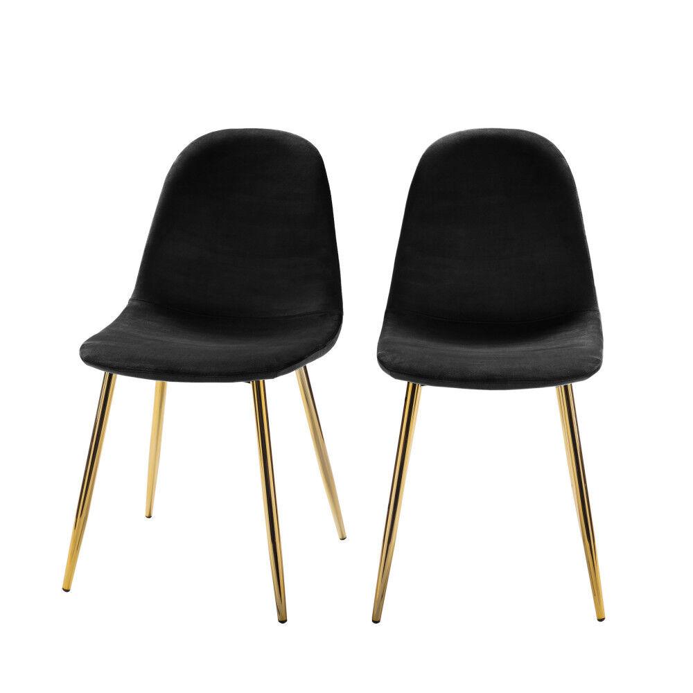 Drawer Vitikko - 2 chaises en velours et pieds dorés - Couleur - Noir