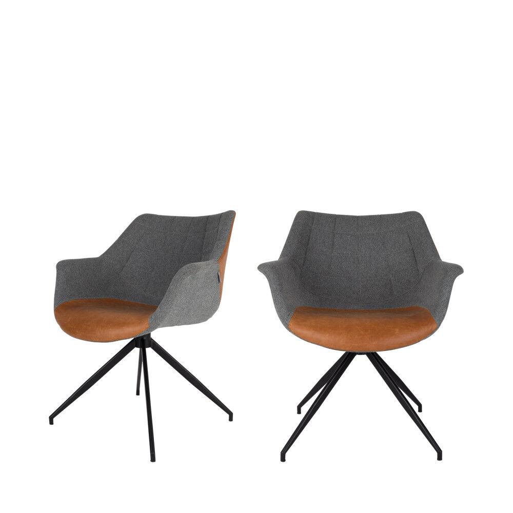 Zuiver Doulton - 2 fauteuils de table en tissu et simili