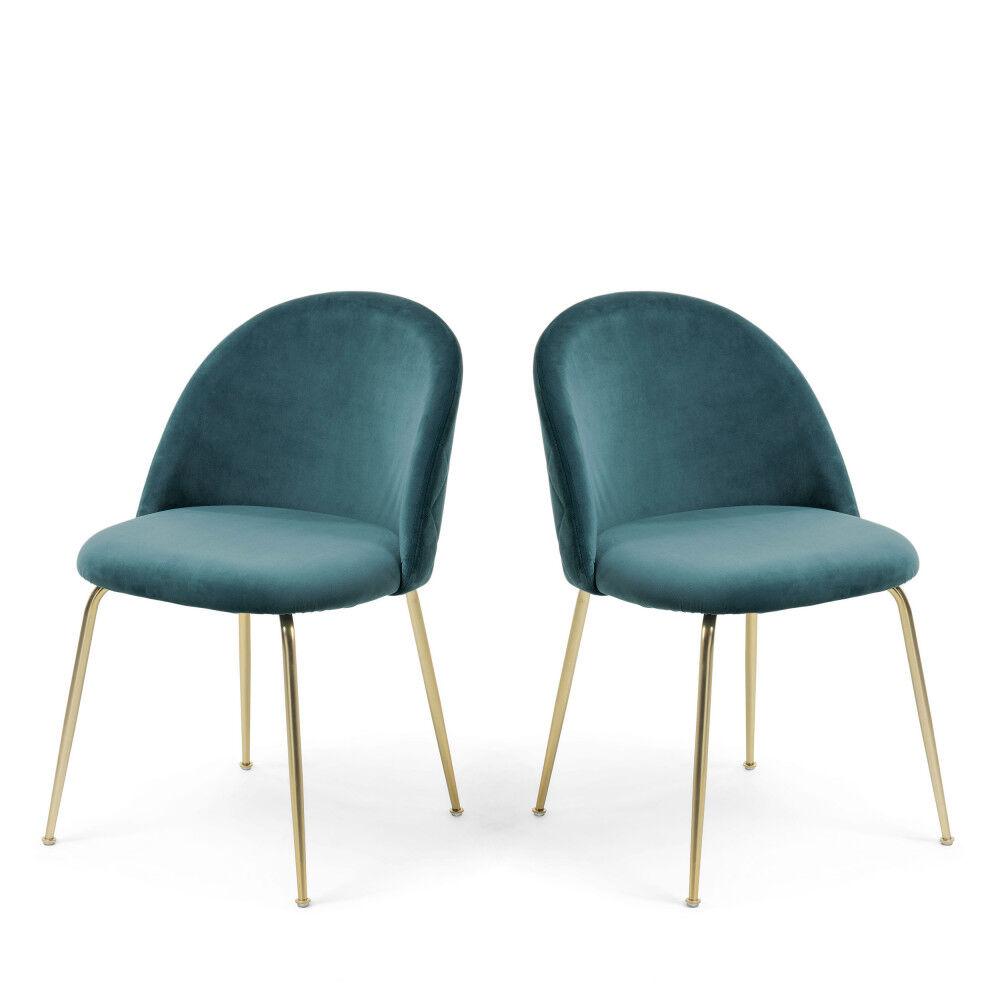 Kave Home Ivonne - 2 chaises en velours et pieds dorés