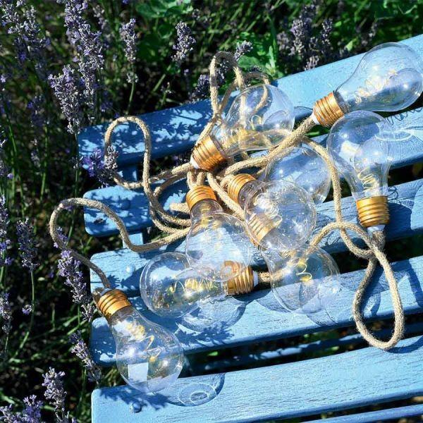 Blachere illumination Guirlande fête 10 Ampoules sur corde chanvre à piles