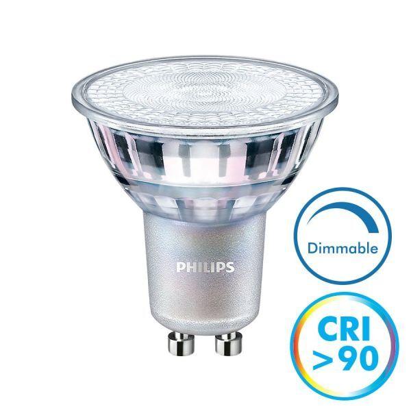 Philips Ampoule LED GU10 Dimmable CRI90 4.9W 380 Lm Eq 50W MASTER (Température de Couleur : Blanc chaud 3000K)
