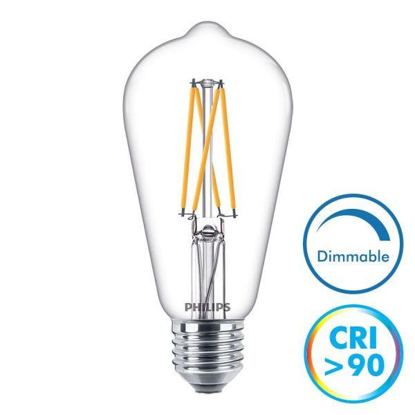 Philips Ampoule Filament LED E27 9W 806 Lumens Eq 60W Dimmable