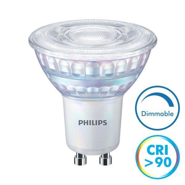 Philips Ampoule LED GU10 Dimmable CRI90 6.2W 5750 Lm Eq 80W MASTER (Température de Couleur : Blanc chaud 3000K)