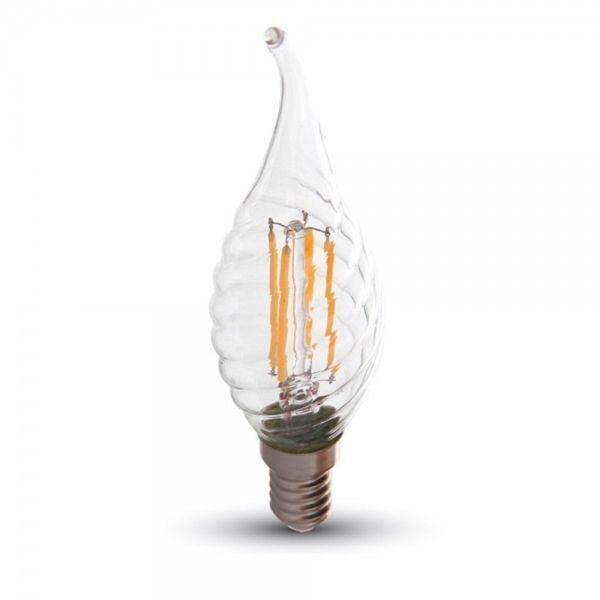 VTAC Ampoule led E14 4W Twist C37T (Température de Couleur : Blanc chaud)