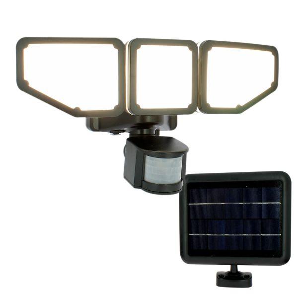 AREV Projecteur LED solaire 3 têtes noir 15W 1000 lumens