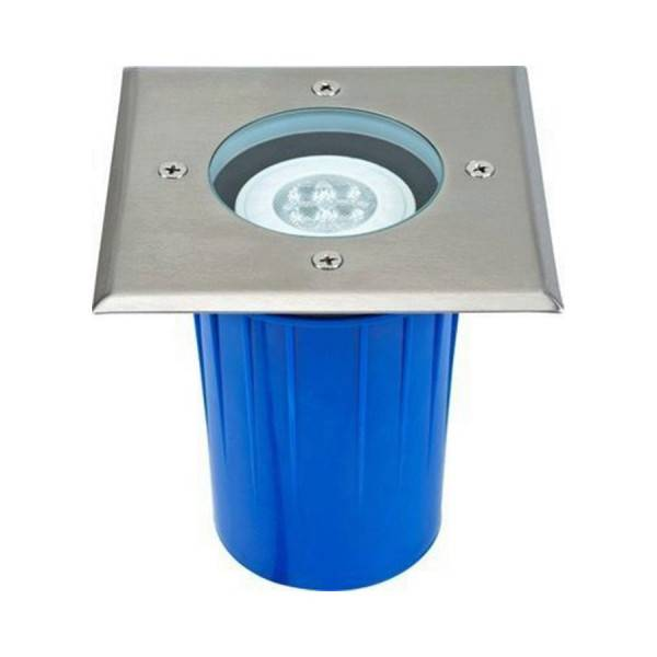 AREV Spot carré inox GU10 à enterrer avec ampoule LED 350Lm