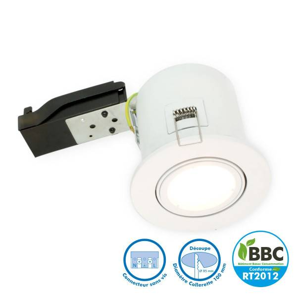 ARUM LIGHTING Spot orientable blanc BBC RT2012 douille GU10