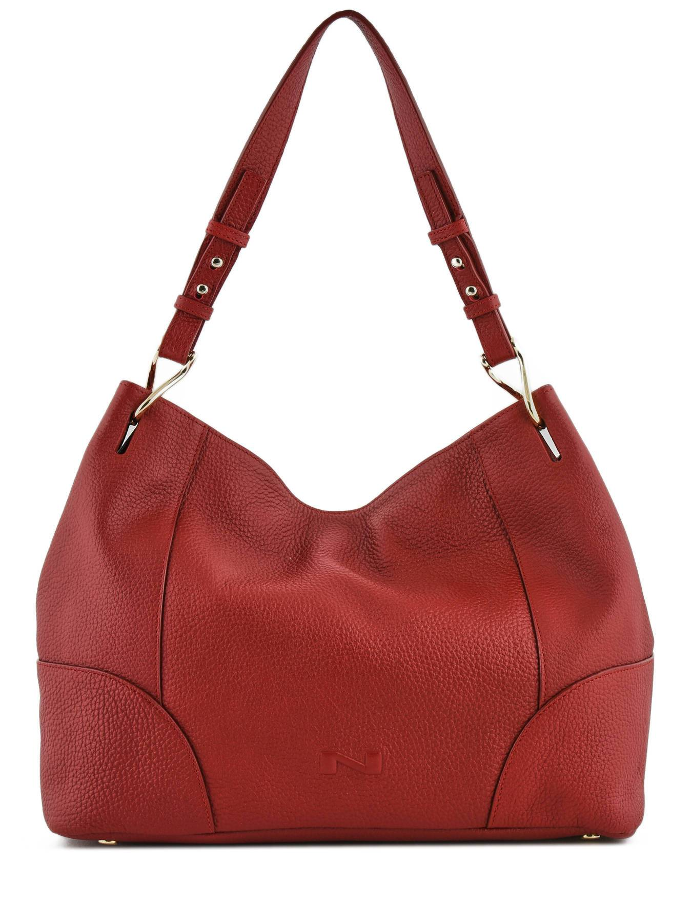 NATHAN BAUME Sac Besace Victoria Cuir Nathan Baume Rouge