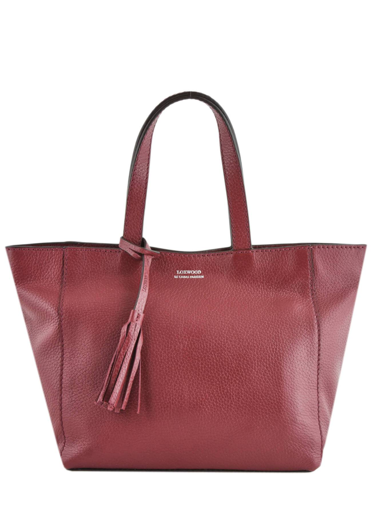 LOXWOOD Sac Shopping Le Cabas Parisien Cuir Loxwood Rouge