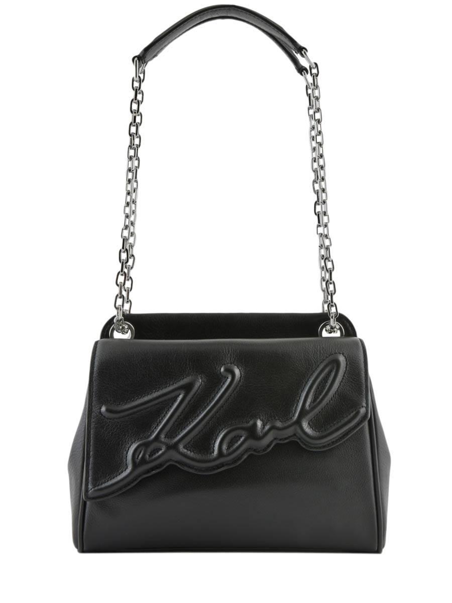 KARL LAGERFELD Sac Porté Épaule K Signature Soft Cuir Karl Lagerfeld Noir
