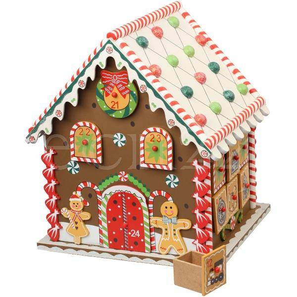 Kaemingk Maison en bois multicolore comme calendrier avent