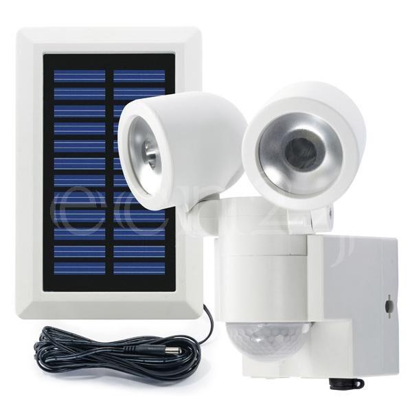 GEV Projecteur Solaire LED 2 Spots et detecteur de mvt blanc
