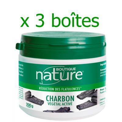 Boutique Nature Charbon végétal actif, lot de 3 pots de 200 grammes