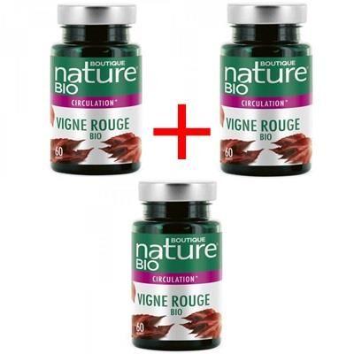 Boutique Nature Vigne rouge bio, lot de 3 boîtes de 60 gélules
