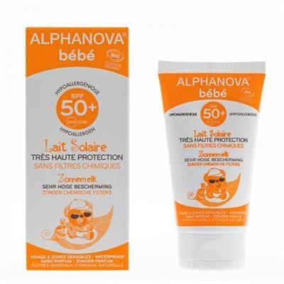 Alphanova Lait solaire bébé bio, 50+ - Tube 50 ml