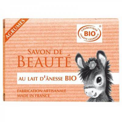 Nature Progres - Cosmo Naturel Savon au lait d'ânesse bio agrumes, 100 grammes