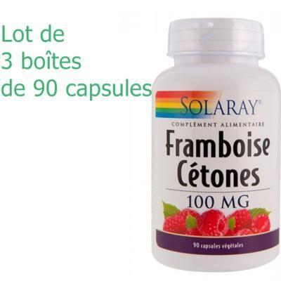 Solaray Cétone de framboise - 3 boîtes de 90 capsules