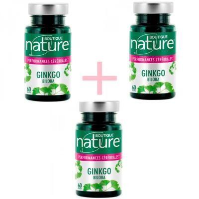 Boutique Nature Ginkgo biloba 60 gélules, lot de 3 boîtes