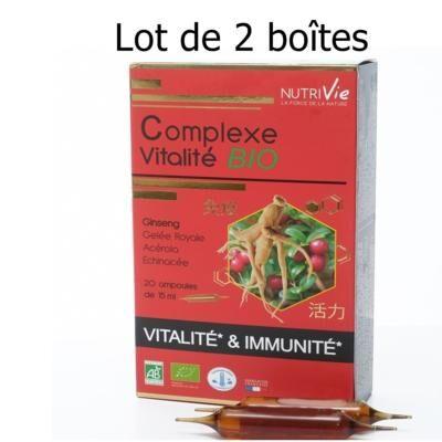 Nutrivie Complexe vitalité bio, 40 ampoules de 15 ml