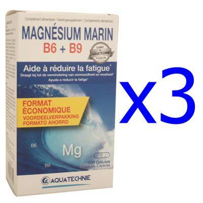 Aquatechnie Magnésium marin B6 et B9, 3 boîtes de 100