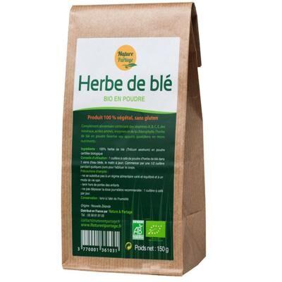 Nature et Partage Herbe de blé bio poudre, 150 grammes