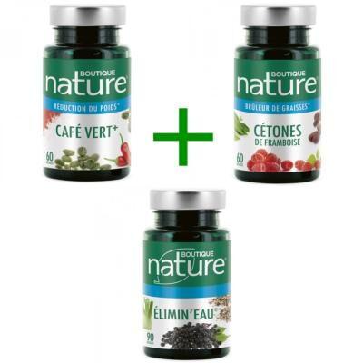 Boutique Nature 1 Cétone de framboise, 1 café vert, 1 élimine eau