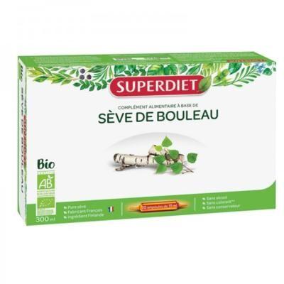 Superdiet Pure sève de bouleau bio, 20 ampoules