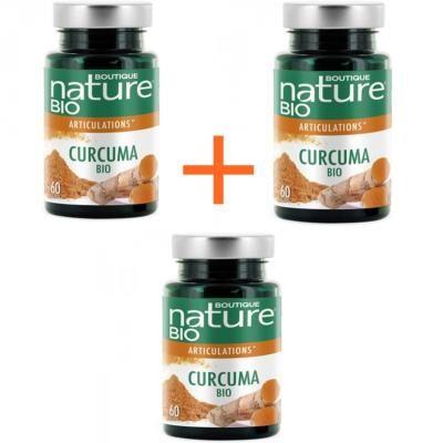Boutique Nature Curcuma bio et poivre noir, 3 boîtes de 60 gélules