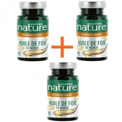 Boutique Nature Huile de foie de morue, 3 boîtes de 90 capsules