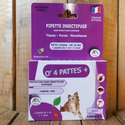 O 4 Pattes Anti puces petits chiens - 4 pipettes