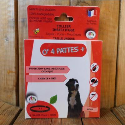 O 4 Pattes Collier anti puces grands chiens - Plus de 30 kg et plus