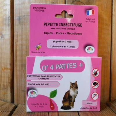 O 4 Pattes Anti puce chat et chaton - 4 pipettes