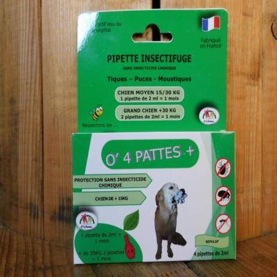 O 4 Pattes Anti puces grands chiens - 4 pipettes