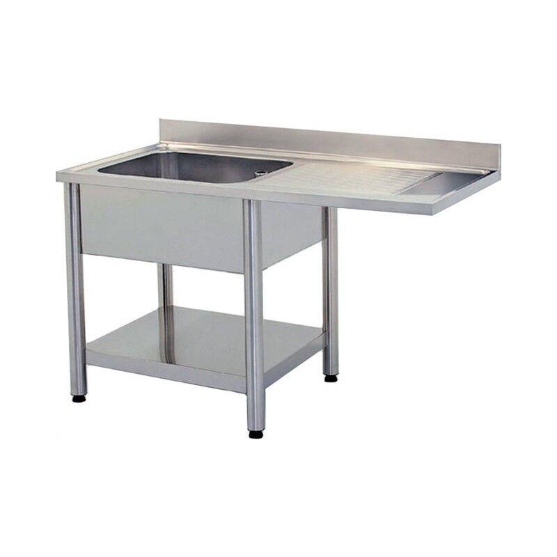 GASTROMASTRO Plonge inox - AISI 304 - 1200 (L) x 700 (P) x 900 (H) mm - Avec égouttoir - 1 bac à gauche - Passage lave-vaisselle à gauche