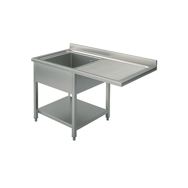 GASTROMASTRO Plonge inox - AISI 304 - 1400 (L) x 700 (P) x 900 (H) mm - Avec égouttoir - 1 bac à gauche - Passage lave-vaisselle à droite