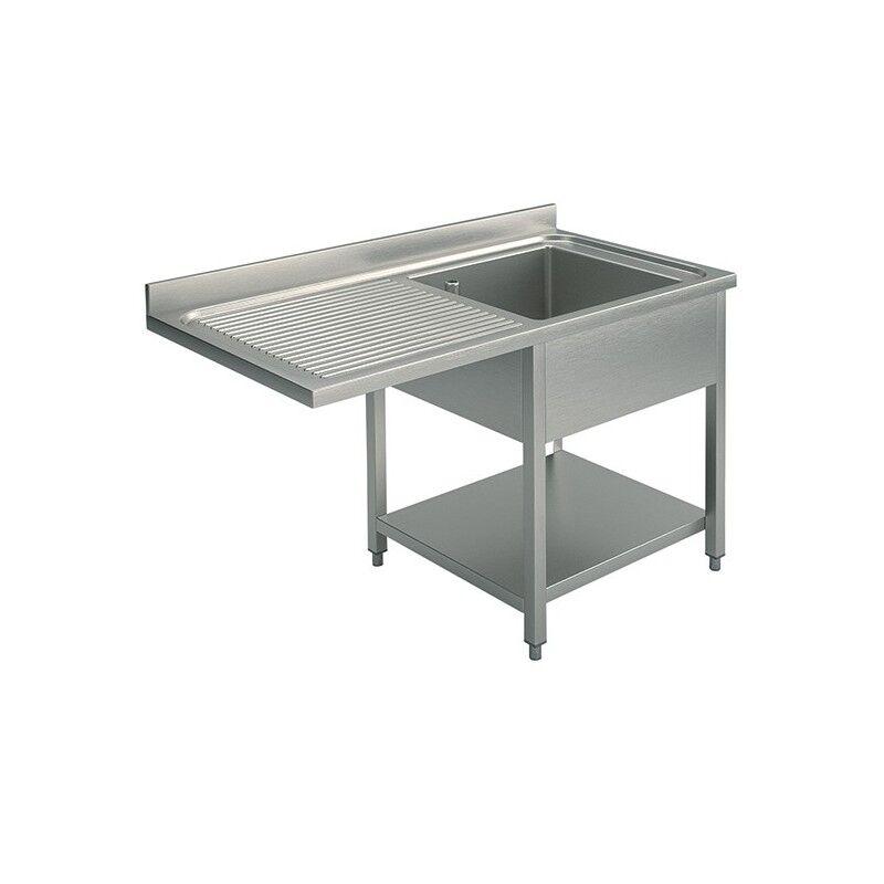 GASTROMASTRO Plonge inox - AISI 304 - 1400 (L) x 700 (P) x 900 (H) mm - Avec égouttoir - 1 bac à droite - Passage lave-vaisselle à gauche