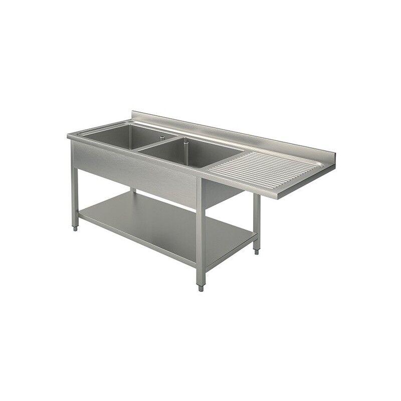 GASTROMASTRO Plonge inox - AISI 304 - 1600 (L) x 700 (P) x 900 (H) mm - Avec égouttoir - 2 bacs à gauche - Passage lave-vaisselle à droite