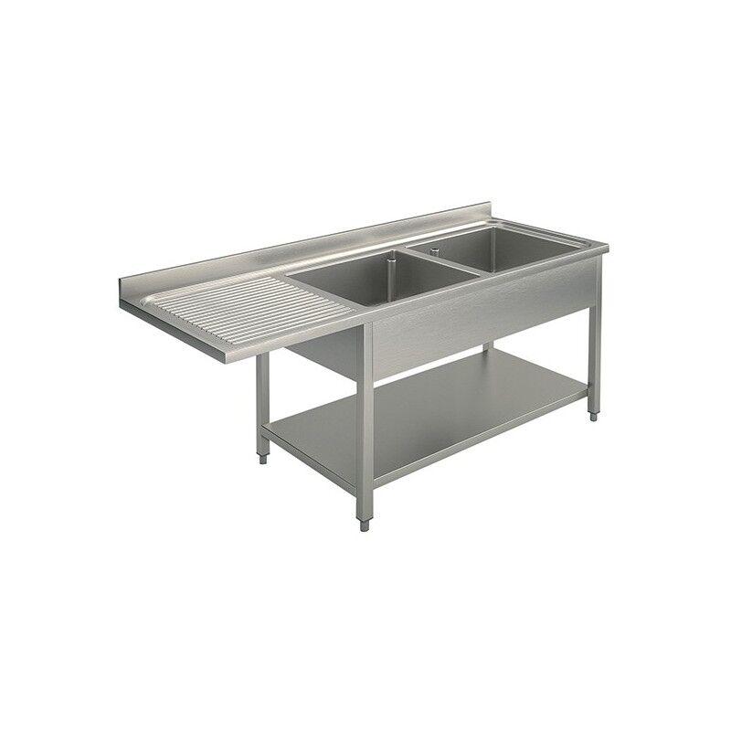 GASTROMASTRO Plonge inox - AISI 304 - 1600 (L) x 700 (P) x 900 (H) mm - Avec égouttoir - 2 bacs à droite - Passage lave-vaisselle à gauche
