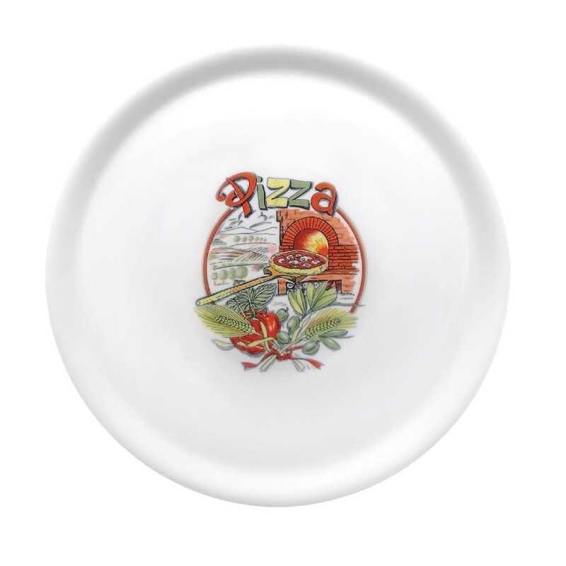 GASTROMASTRO Assiettes à pizza - Saturnia décor Pizza - Lot de 6 - Ø 310 mm