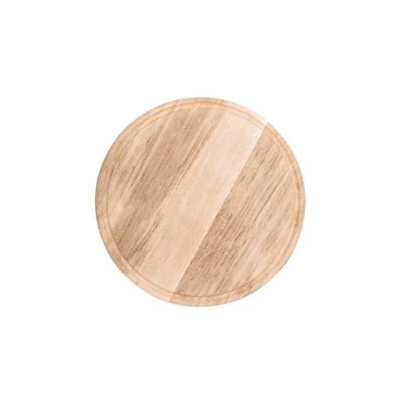 GASTRO Assiette / Planche à pizza avec rainure à jus - Ø 420 mm - Bois