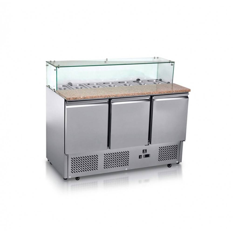 ATOSA Meuble à pizza - Garantie 2 ans - Paiement 4X - 387 L - 3 portes + roulettes - 7 x GN 1/3 - Classe N