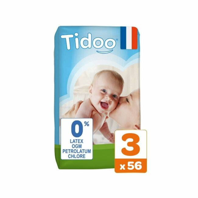Couches jetables �cologiques et hypoallerg�niques TIDOO Nature. Taille Midi (4-9kg). Jumbo pack (56 couches). TIDOO 56 Couches T3 / M (4/9kg)