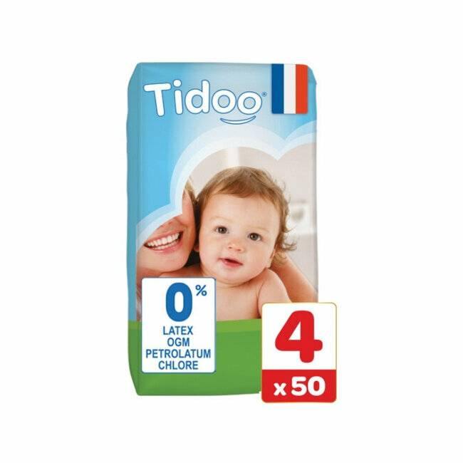 Couches jetables �cologiques et hypoallerg�niques TIDOO Nature. Taille Large (7-18kg). Jumbo pack (50 couches). TIDOO 50 Couches T4 / Large (7/18kg)
