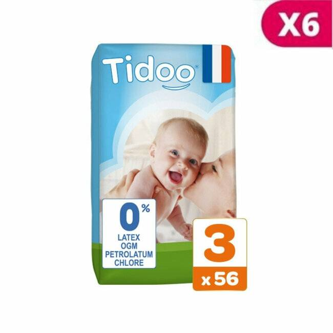 Couches jetables �cologiques et hypoallerg�niques TIDOO Nature. Taille Midi (4-9kg). Jumbo pack (336 couches). TIDOO 6x56 Couches T3 / M (4/9kg)